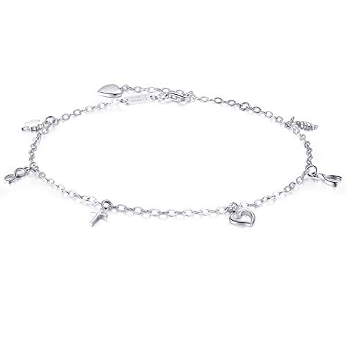 Billie Bijoux 925 sterline d'Argento Cavigliera Regolabile Cross Infinity Wish Bone Quadrifoglio Cavigliera con Charm al Cuore Placcato in Oro Bianco per Le donne10.63