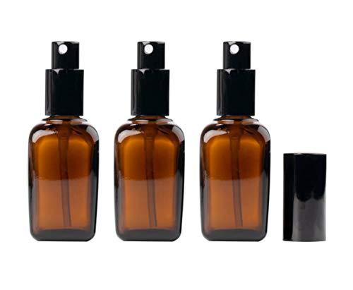 3 tarros de repuesto de vidrio ámbar grueso cuadrado con tapa negra para cosméticos, contenedores, almacenamiento de muestra, pulverizador de niebla fina (10 ml/0,34 oz), ámbar (Naranja)