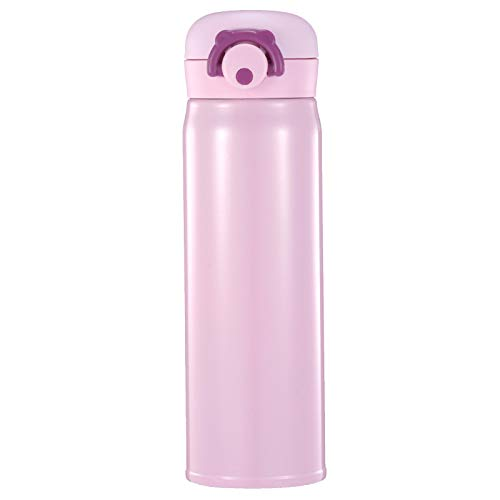 QAZW Botella de Agua,Botellas de Agua para Niños de Acero Inoxidable,Limpieza Fácil,Termo Aislado Al Vacío,plástico Tritan sin BPA,para Hombres, Mujeres, Niños,Pink-350ml