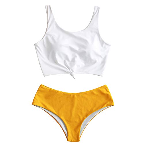 ZAFUL Women's Scoop Neck Tropical Leaf Knotted Two Pieces Tankini Set Swimsuit (Bright Yellow, S)
