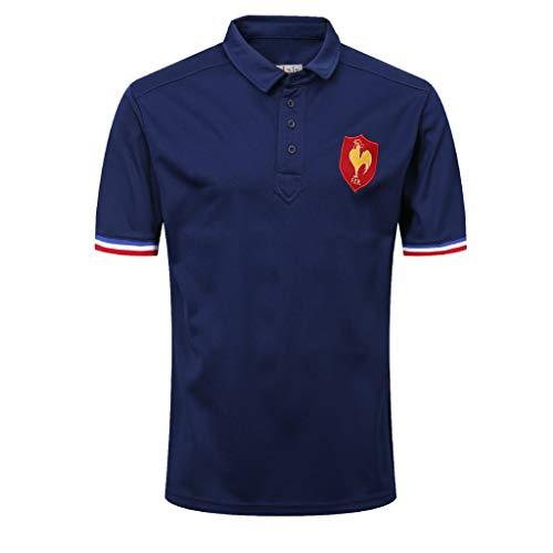 CRBsports Team France, Polo Rugby, T-Shirt, Nouveau Tissé Brodé, Swag Sportswear (Bleu, XL)