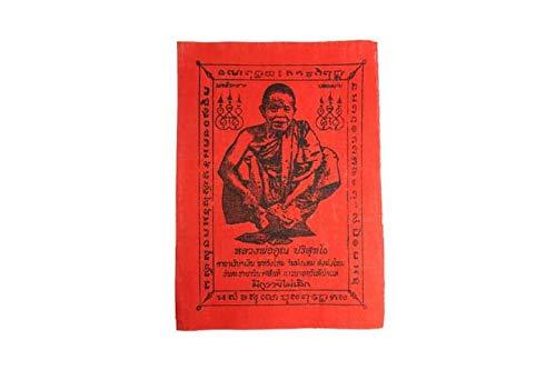 Luang Phor Koon Yantra Red Fabric Cloth Magic Thai Buddha PHA Yan Amulet Talisman for Lucky Money (6x4.5 inch)nang kwak