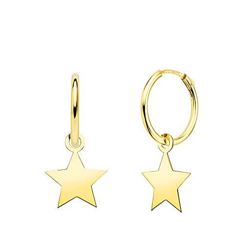 Pendientes oro 18k mujer aro 12 mm. combinado estrella lisa 10 x 10 mm.