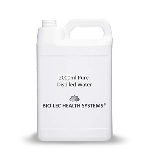 (2000ml (2l)) Agua destilada a vapor lento y 100% puro de varios tamaños Multiuso [Calidad alimentaria/Calidad médica/Libre de BPA] por Bio-Lec Health Systems