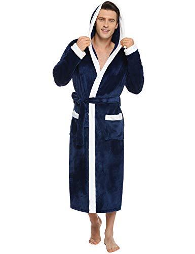 Abollria badjas heren ochtendjas met capuchon en riem lange mouwen saunamantel winter huismantel voor sauna