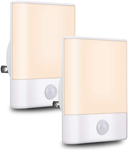 BriVIVI Plug in LED Motion Sensor Night Light with Adjustable Brightness 3 Lighting Mode AUTO product image