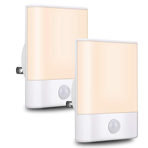 LED Night Light Plug in,BriVIVI Motion Sensor Night Light with Adjustable Brightness 3 Lighting Mode AUTO/ON/Off for Children, Bedroom, Hallway Light, 2 Pack