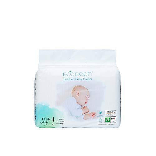 ECO BOOM - Pañales biodegradables de bambú, tamaño 4, pañales ecológicos para bebé, pañales de bambú orgánico súper suaves, tamaño 4 L, paquete de 30 unidades, pañales ecológicos