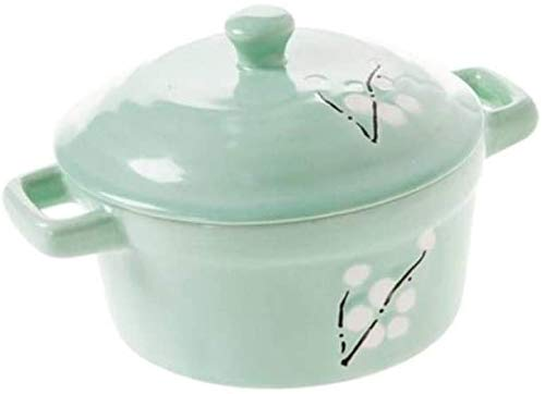 ZCM Olla De Sopa De Cazuela De Cerámica, Utensilios De Cocina De Cerámica con Asa, Olla De Cocina, Olla De Guisado De Huevo con Leche(Color:Verde)