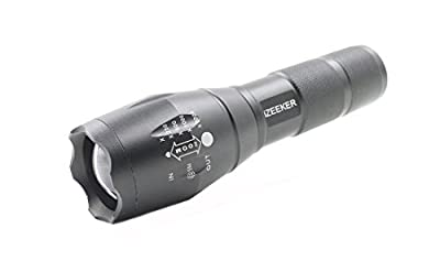 LED Tactical Flashlight 3500 mAh 18650 Rechargeable Battery and Charger 1200 Lumens iZEEKER Portable Ultra Bright XML T6 Outdoor Water Resistant Torch with Adjustable Focus and 5 Light Modes