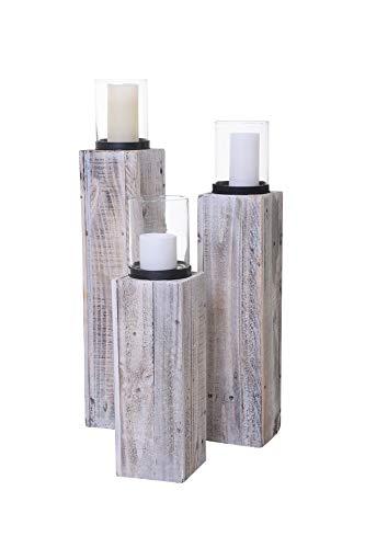 Vivanno 3er Set Windlicht Windlichtsäule Kerzenhalter Säule Recycling Holz Lumira 60/76/86 cm hoch Shabby Chic Weiß