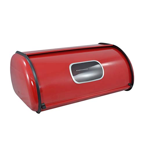 Modern Red Metal Clear Front Window Rolltop 2 Loaf Bread Box/Storage Bin - MyGift