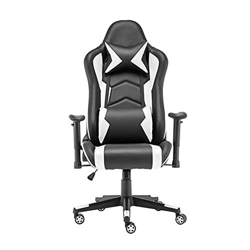 Silla de oficina Home Multifuncional Fashion Racing Asiento cómodo y hermoso Silla de oficina (Color : Black and white)
