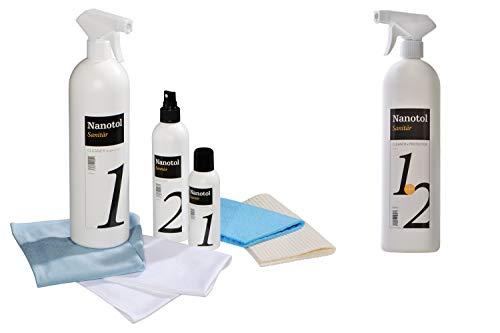 Profi Bad-Versiegelung-Set mit Lotuseffekt, Nano-Versiegelung spart 80% Reinigungszeit, Nanotol Sanitär-Set mit Cleaner & Protector zum Kalk-Schutz für Duschkabine, Keramik, Fliesen