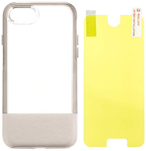 OtterBox Slim Case Bundle - Set aus Sturzsicherer Schutzhülle + Ultrarobustem Alpha Glass Displayschutz. transparent mit Lederapplikation für Apple iPhone 8 /7 beige