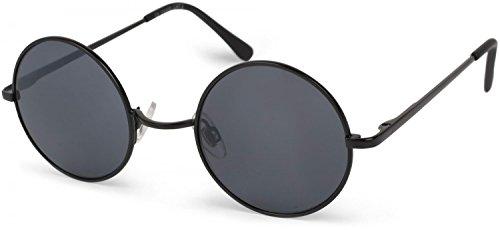 styleBREAKER runde Sonnenbrille mit schmalem Metall Gestell, Retro Design, Bügel mit Federscharnier, Unisex 09020065, Farbe:Gestell Schwarz/Glas Grau getönt