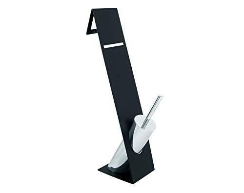 Sanwood Kombi-Bürstengarnitur Turin schwarz, Behälter verchromt mit Kunststoffeinsatz