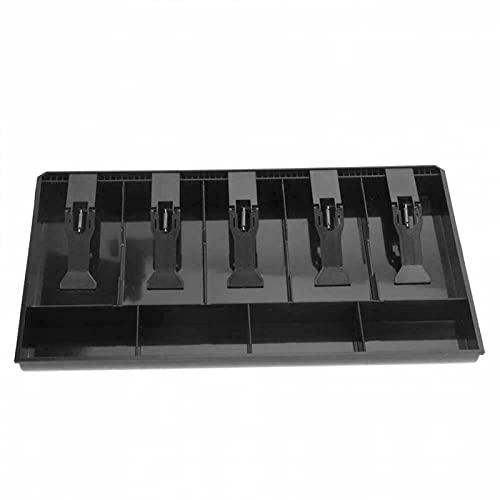AKJUY Cajón registrador, caja de almacenamiento de efectivo y recibos con 5 rejillas y 4 bandejas para monedas, bandeja de caja registradora extraíble para sistema de punto de venta (negro)