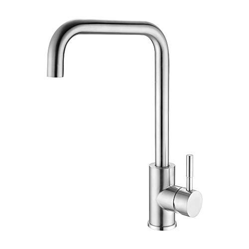 EXECART Wasserhahn Küche 360 Grad Drehbar Einhand Küchenarmatur spülarmatur Edelstahl Gebürstet Armatur mischbatterie küche…