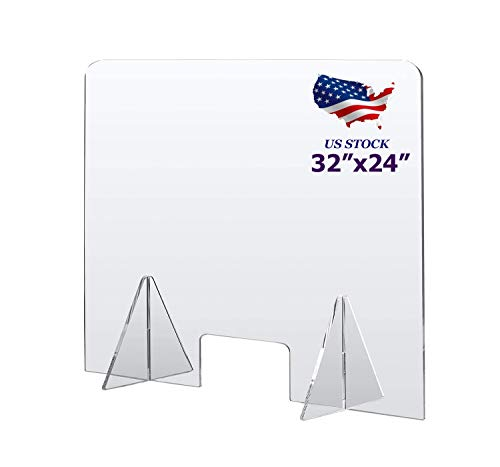 Sneeze Guard for Counter 32' x 24', Protective Plexiglass Barrier Divider, Portable Freestanding Clear Acrylic Plastic Shield for Desk, Office, Nail Salon and Reception