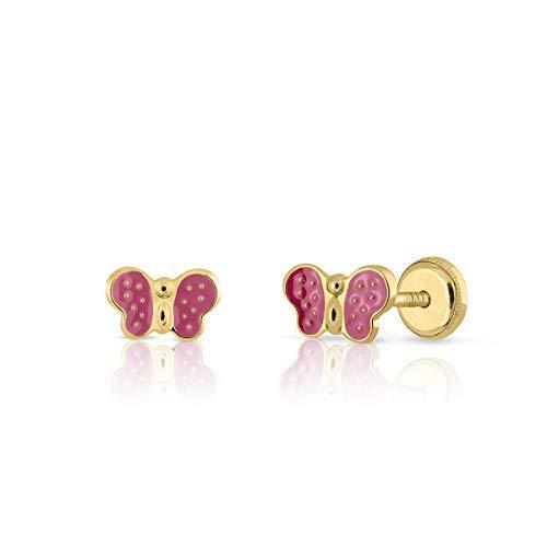 Pendientes en oro de ley, bebe niña o mujer diseño mariposa con esmalte de calidad color rosa....