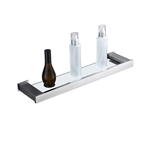 BXU-BG Estante de baño de vidrio templado estante de baño, soporte de pared de acero inoxidable 304, estante de almacenamiento sin perforación, baño, balcón, estantes de baño de hotel de 20 pulgadas