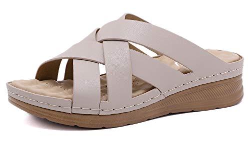 INMINPIN Sandalias con Punta Abierta Mujer Mules de Cuña Suave Cuero Respirable Zapatos con Plataforma de Verano