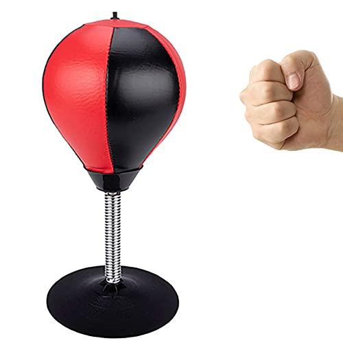 MEARCOO Mini Saco de Boxeo para Escritorio, Pelota Antiestrés con Ventosa, Punzonadora de Oficina para Niños, Adultos para Aliviar el Estrés