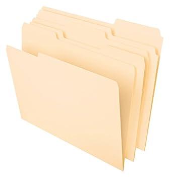 Pendaflex File Folders Letter Size 8-1/2  x 11  Classic Manila 1/3-Cut Tabs in Left Right Center Positions 100 Per Box  65213