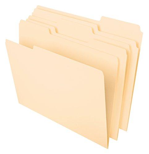 "Pendaflex File Folders, Letter Size, 8-1/2"" x 11"", Classic Manila, 1/3-Cut Tabs in Left, Right, Center Positions, 100 Per Box (65213)"