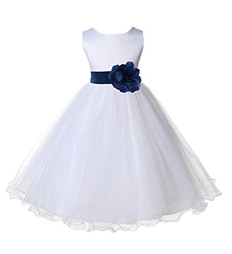 ekidsbridal White Tulle Rattail Edge Flower Girl Dress Wedding Tulle 829S 4