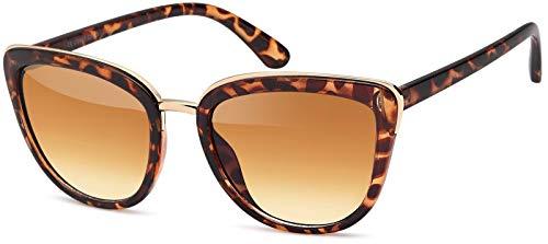 styleBREAKER gafas de sol con forma de ojos de gato, forma de mariposa con montura de metal y plástico, ojos de gato, señora 09020078, color:Semi-marco marrón oro/delineado de vidrio marrón