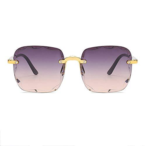 WPHH Gafas De Sol Gradientes para Mujer, Gafas De Sol Cuadradas Sin Montura De Lujo para Mujer, Gafas De Sol Retro De Gran Tamaño Transparentes Sin Marco,C6