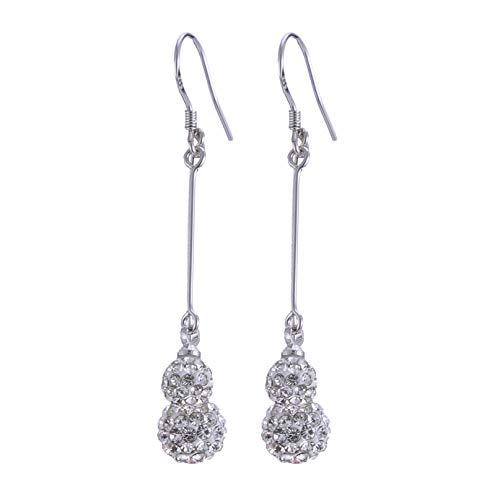 Garispace Pendientes colgantes de plata de ley 925 con diamantes de imitación de bola para mujer, pendientes de borla para boda, fiesta, joyería de cristal