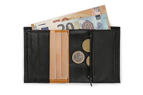 Kleine Geldbörse aus recyceltem Fahrradreifen mit Münzfach/Schwarz und orange