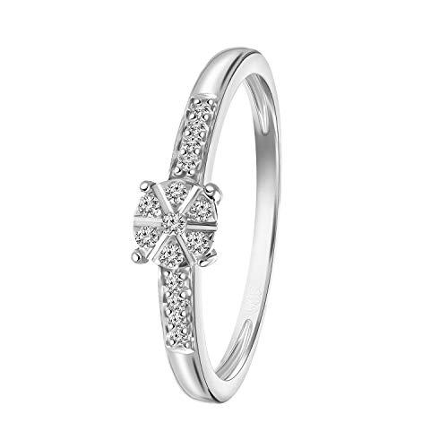 Diamond Luxury - 585 Weißgold-Ring Entourage mit Diamanten - für Damen - Weiß