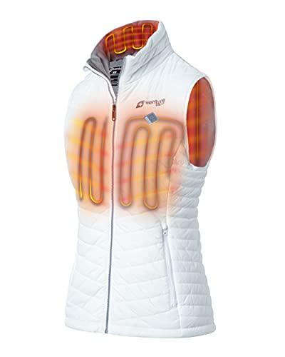 Venture Heat Women's Heated Vest with Battery Pack - 13 Watt High Powered Electric Insulated Puffer, Roam (M, White)