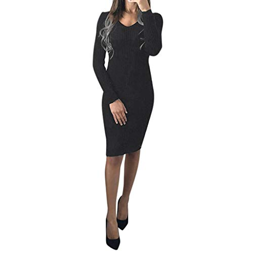 New Gergeos Clearance Women Autumn Knit Dress Long Sleeve Solid O-Neck Silm Casual Dress(Black,Large...