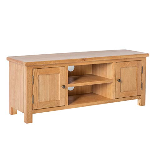 Surrey Oak Large TV Unit Cabinet for Living Room | Roseland Furniture Traditional Rustic Waxed 120 cm Solid Wood Television Stand Suitable for TVs up to 54 inch| Fully Assembled