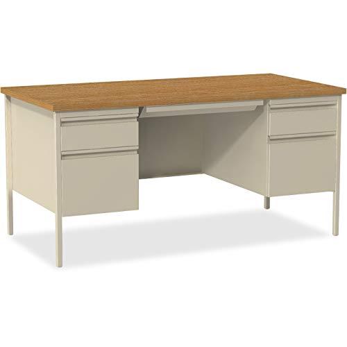 Lorell Double Pedestal Desk, Putty Oak, 60 by 30 by 29-1/2-Inch