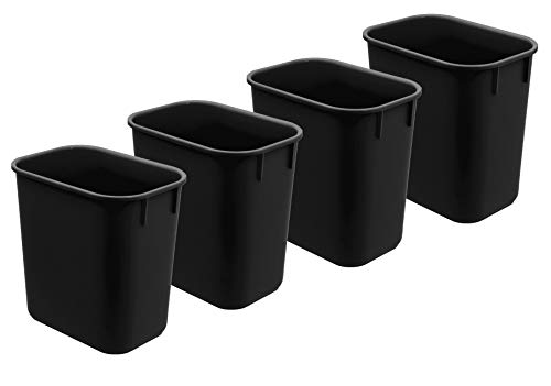 Acrimet Wastebasket 13QT (4 - Pack) (Black Color)