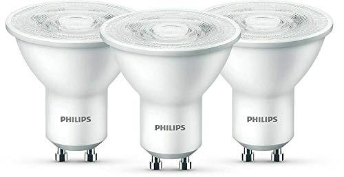 Philips - Juego de 3 focos LED (GU10, 4,7 W = 50 W, luz blanca cálida, 2700 K, 345 L)