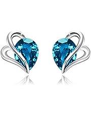 AOBOCO srebrne kolczyki sztyfty dla kobiet z kryształkami Swarovskiego, węzeł miłości kolczyki w kształcie serca, hipoalergiczne, 14-karatowe białe złoto platerowane