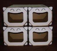 段ボールでできた猫ハウス 猫ベット にゃんハウス ボックスタイプ 4個