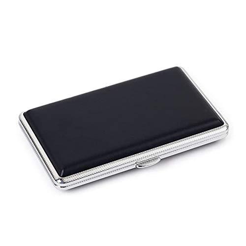 RUI - K25 Nueva Caja De Cigarrillos De Metal De Cuero Negro Liso con Capacidad para 14 Cigarrillos por 100