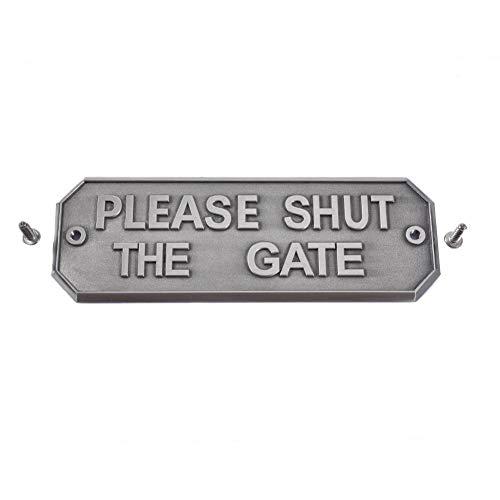 chivalrylist waarschuwingsbord voor tuinieren, huis hardware, deurbordje, antiek messing, gelieve het doel te sluiten Oud nikkel
