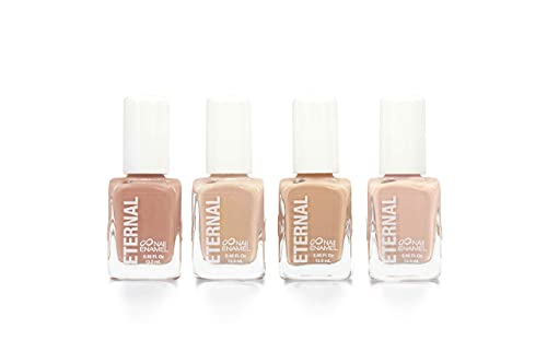 Eternal 4 Collection – Set of 4 Nail Polish: Long Lasting, Mirror Shine, Quick Dry, Neutral Colors (Light Nudes)