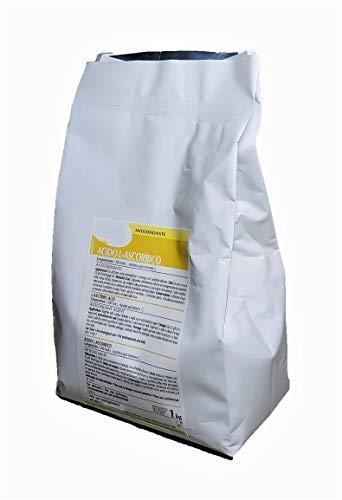 Ácido L-ascórbico Vitamina C pura en polvo E-300. 1 Kilogramo. 100% soluble de alta calidad. Ayuda al mantenimiento del sistema inmunitario.
