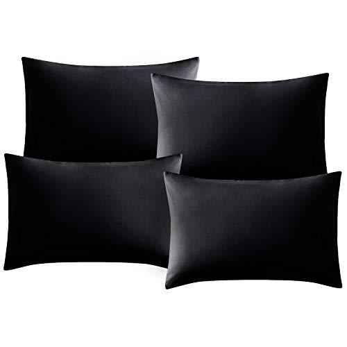 Hansleep Funda Almohada 50x75/80 cm de Microfibra, 4 Fundas Almohadas 75x50 Negra Transpirable sin Cremallera, Juego de 4 Unidades con Cierre de sobre Suave