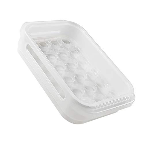 Angoily Organizador Plástico de La Nevera del Sostenedor del Huevo de La Cocina con La Tapa del Contenedor de Almacenamiento del Refrigerador Claro